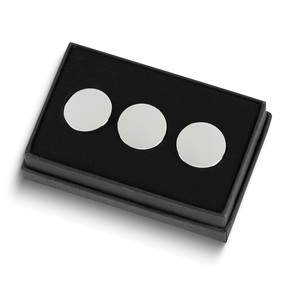 Nickel-plated Set Of Three Golf Ball Markers