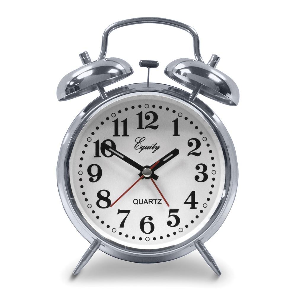 Silver-tone Analog Quartz Alarm Clock
