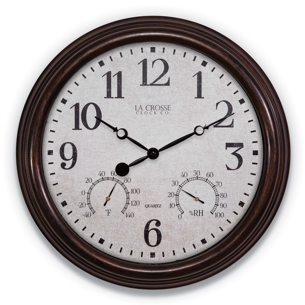 15in Indoor/Outdoor Wall Clock with Temperature and Humidity