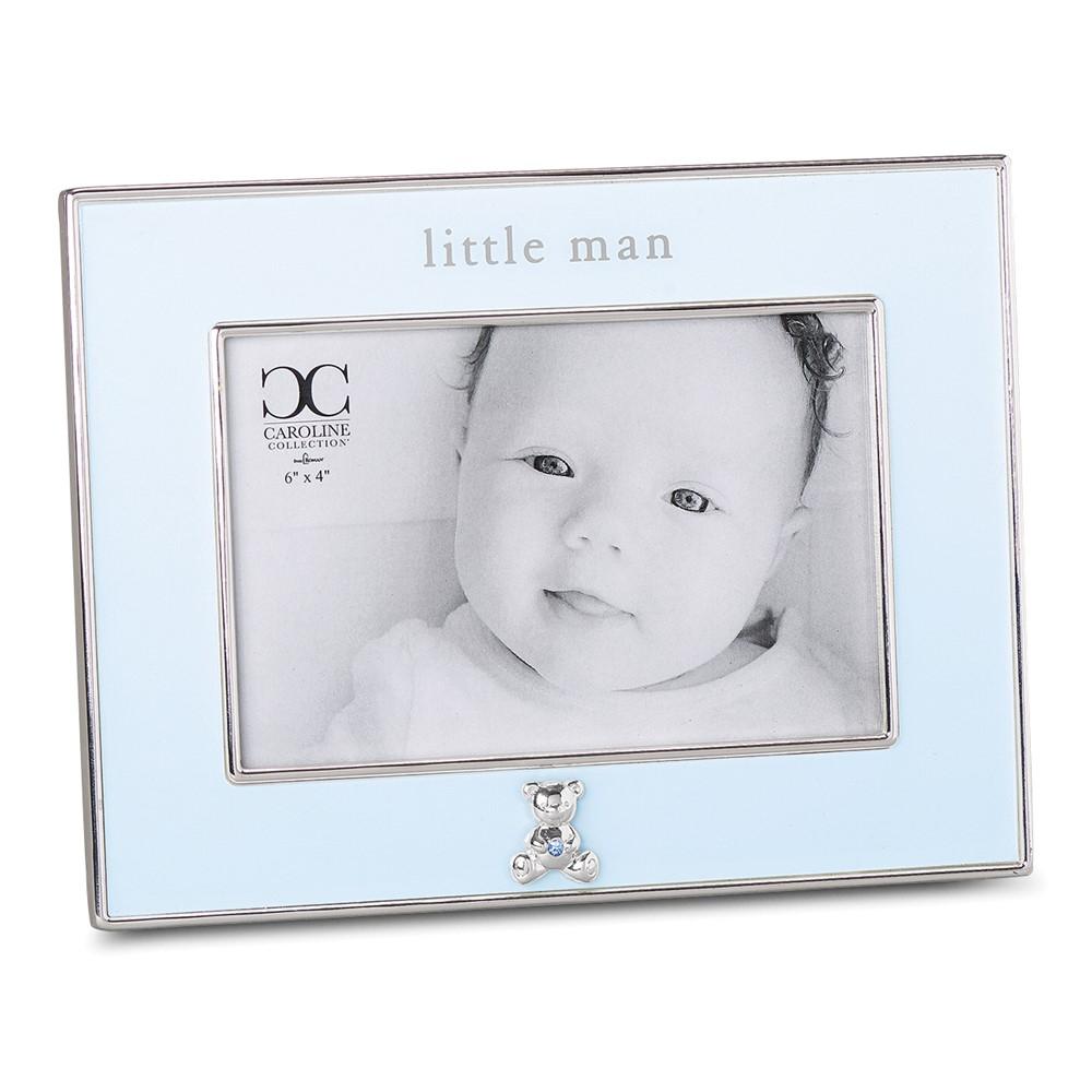 Silver-tone Little Man Blue 4x6 Photo Frame w/Bear