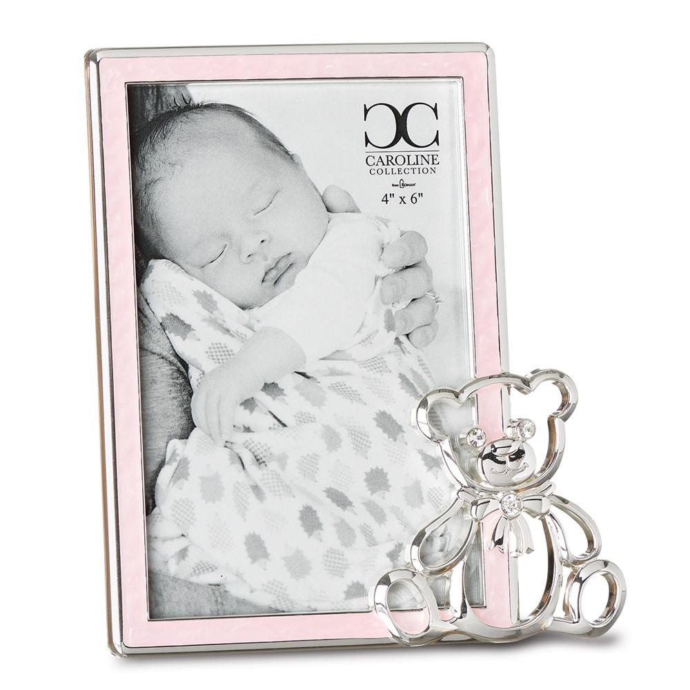 Zinc Alloy Pink Girl 4x6 Frame w/Bear