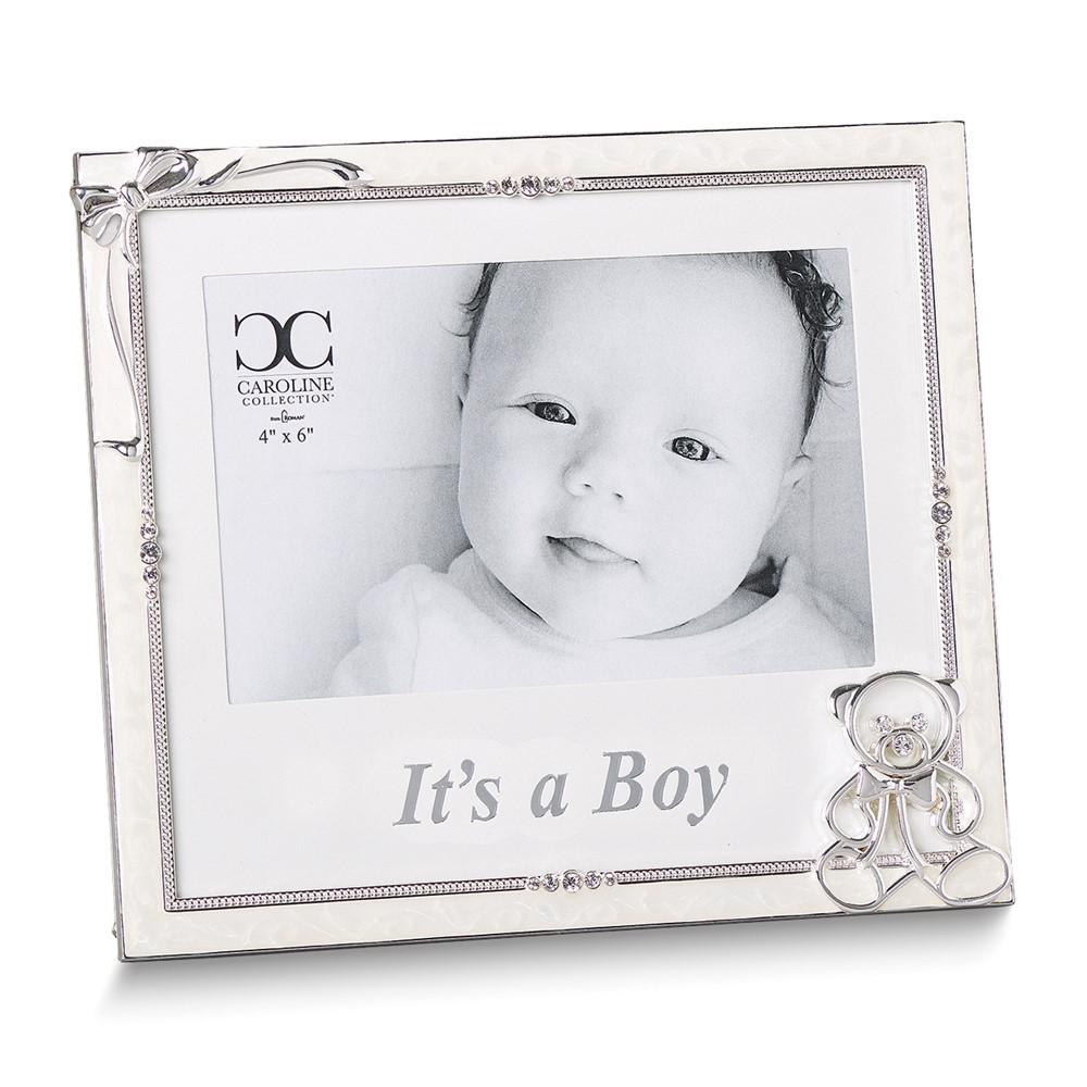 Silver-tone Ivory Enamel It's a Boy 4x6 Frame