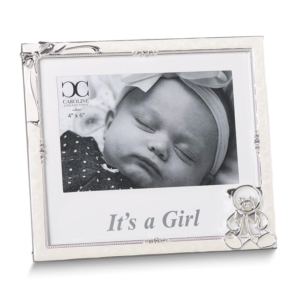 Silver-tone Ivory Enamel It's a Girl 4x6 Frame