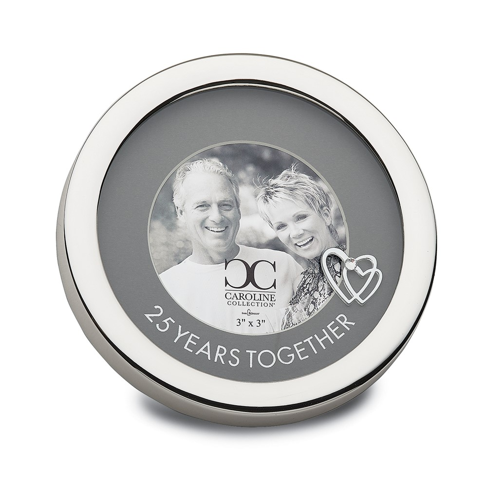Zinc Alloy 25 Years Together Circle 3x3 Frame