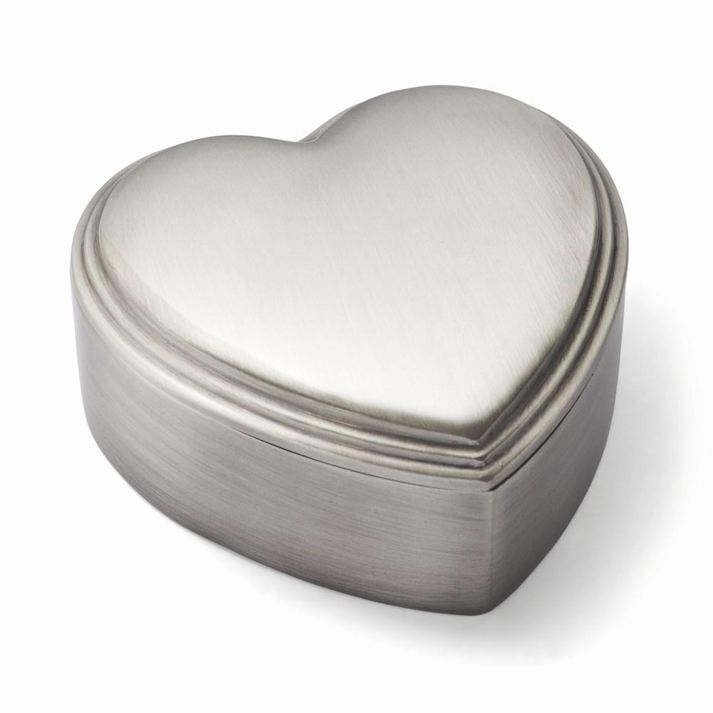 Pewter-tone Finish Heart Jewelry Box