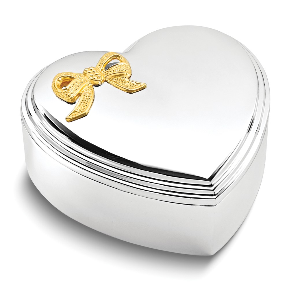Silver-plated Gold-tone Bow Lift-off Lid Heart Jewelry Box