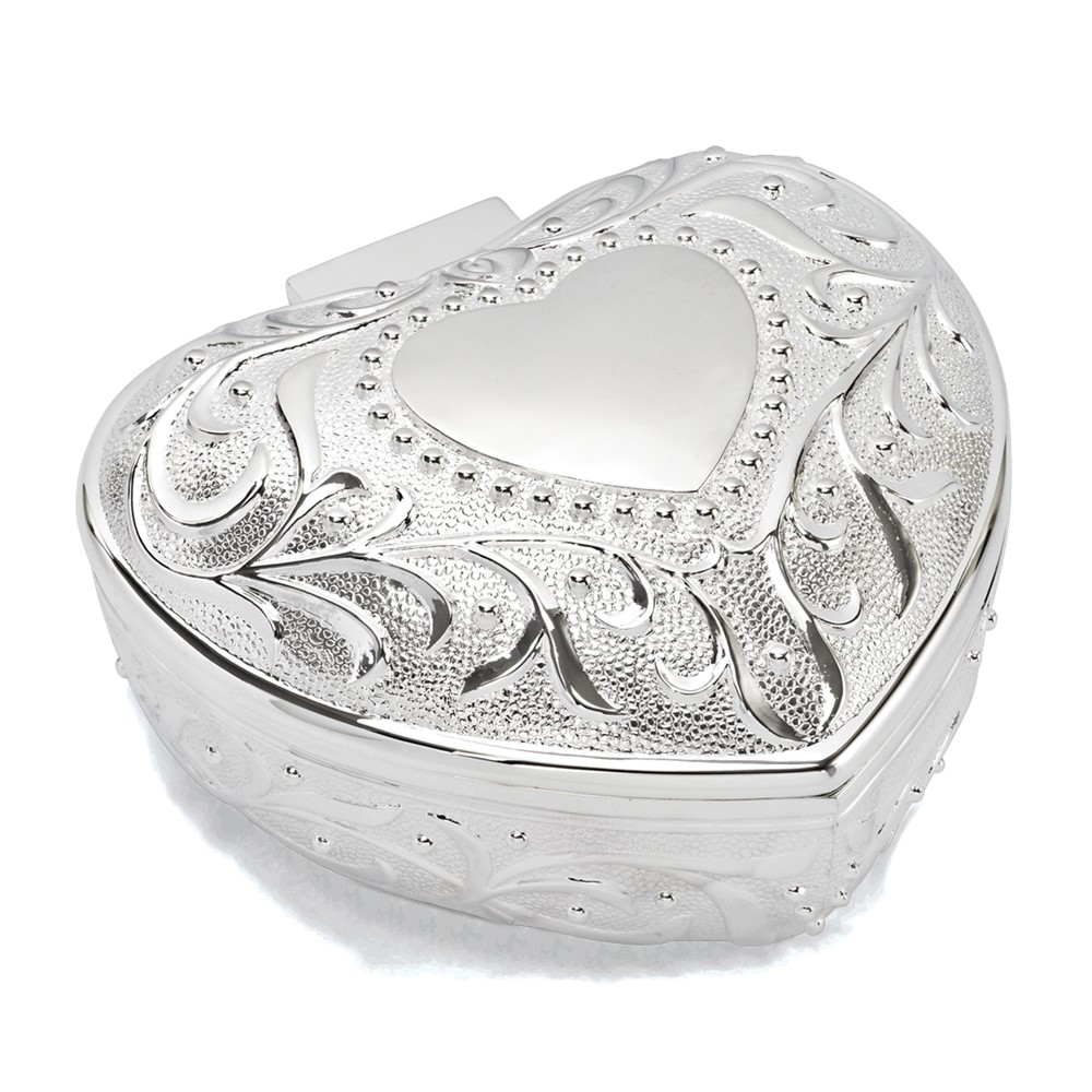 Silver-plated Floral Heart Jewelry Box