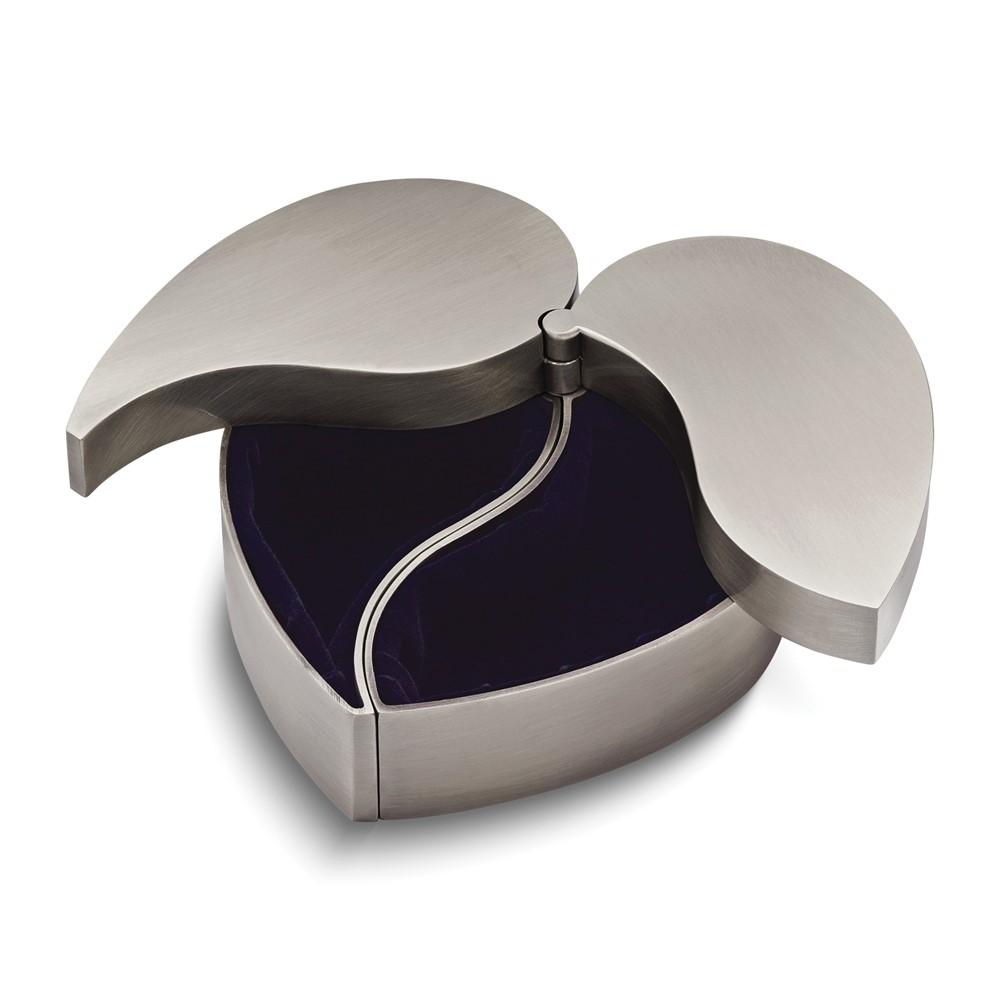Pewter-tone Finish Hinged Heart Jewelry Box