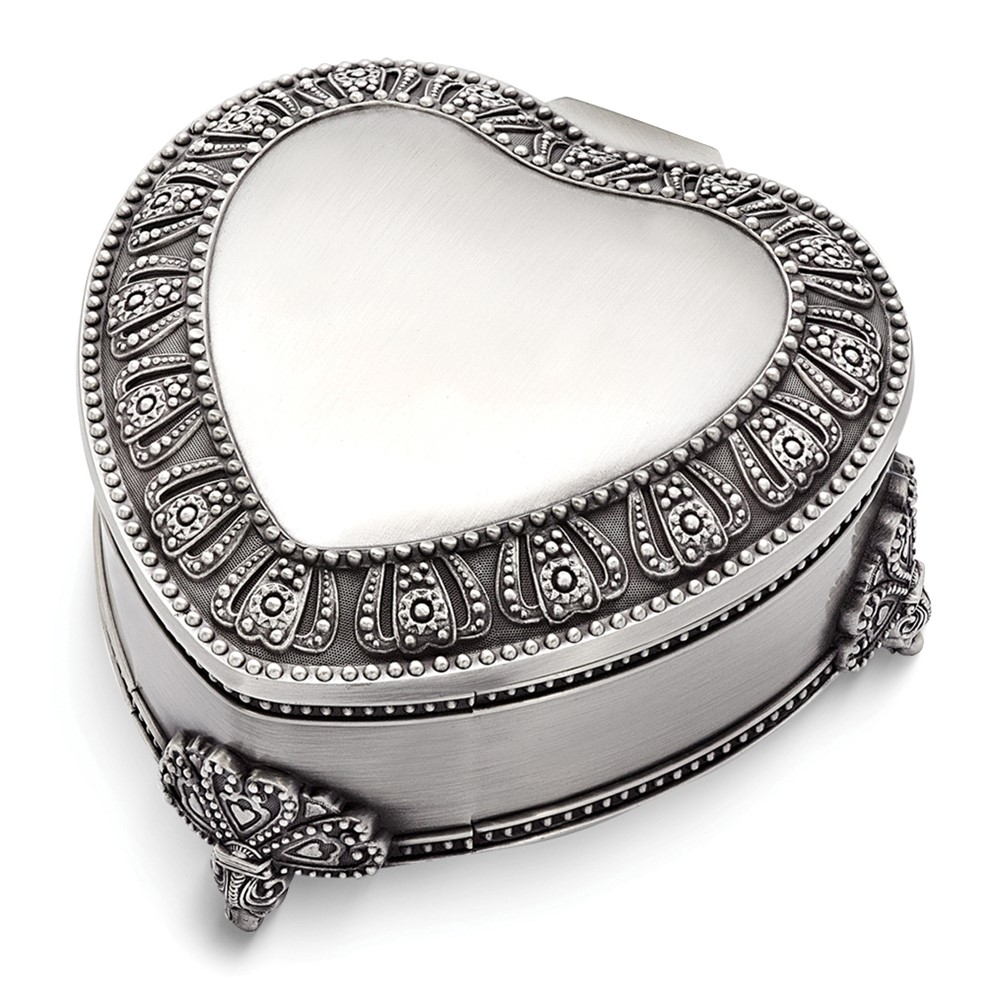 Pewter-tone Finish Floral Heart Jewelry Box