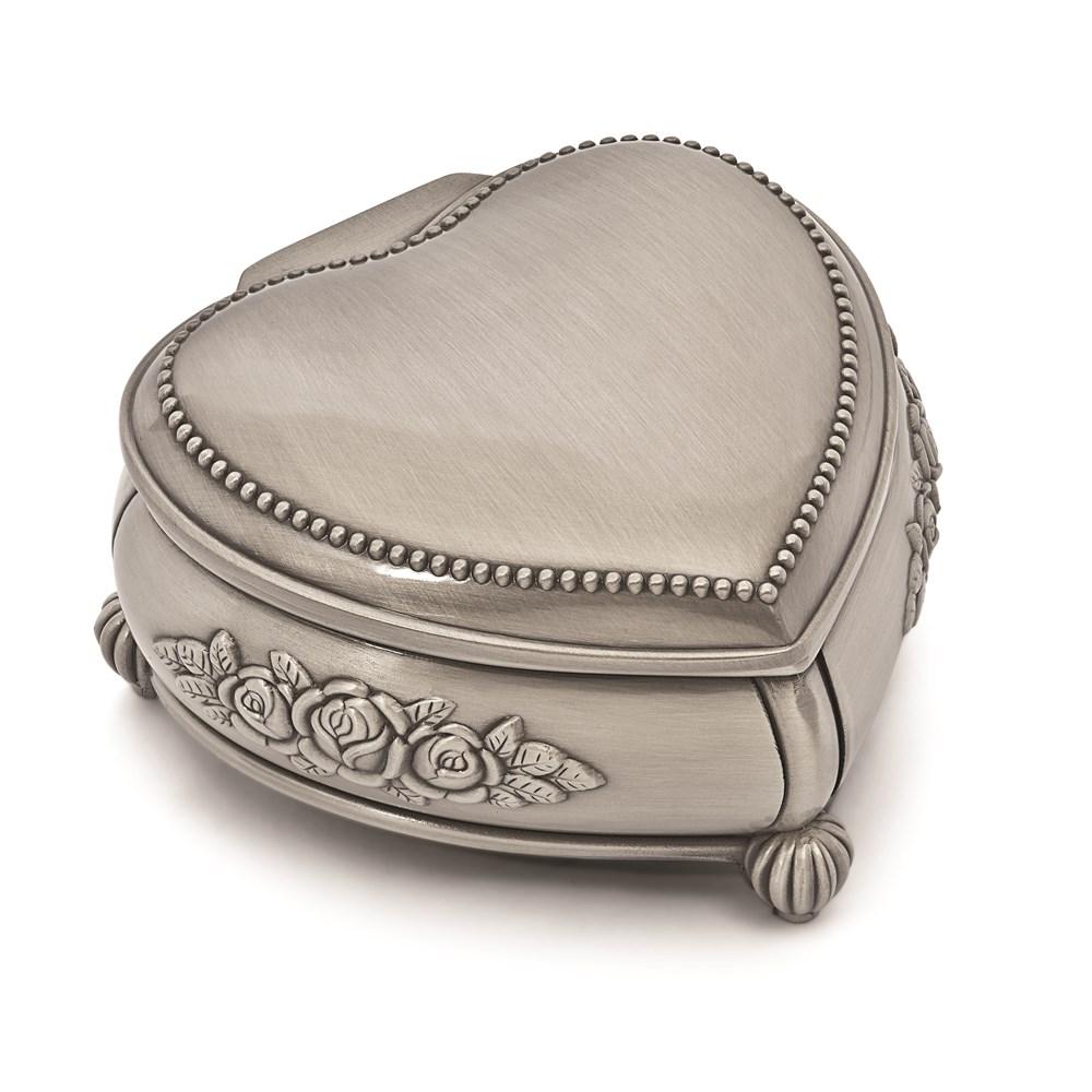 Pewter-tone Finish Heart Rose Jewelry Box