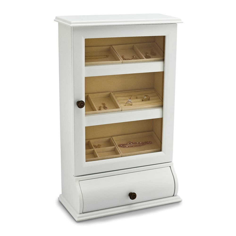 Wooden White Jewelry Cabinet