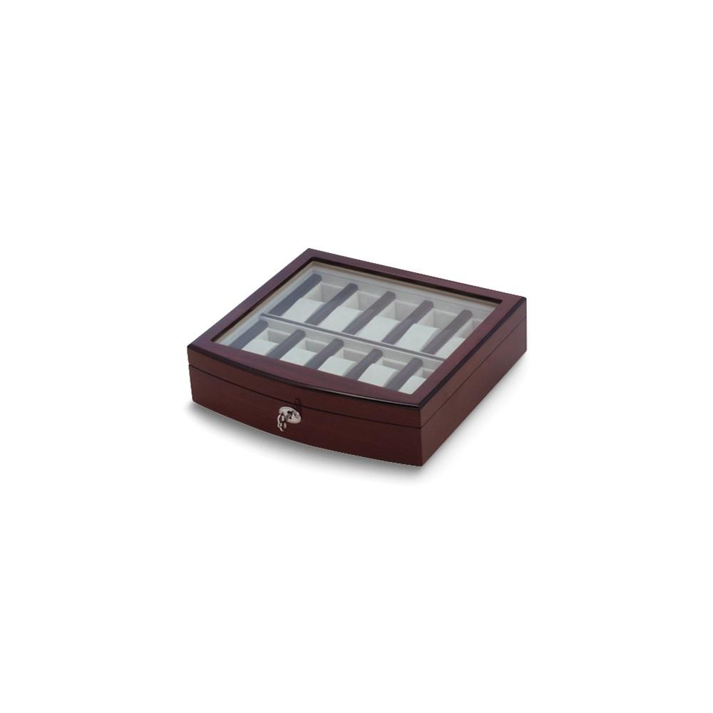 Dark Maple High Gloss Finish 10-Watch Case