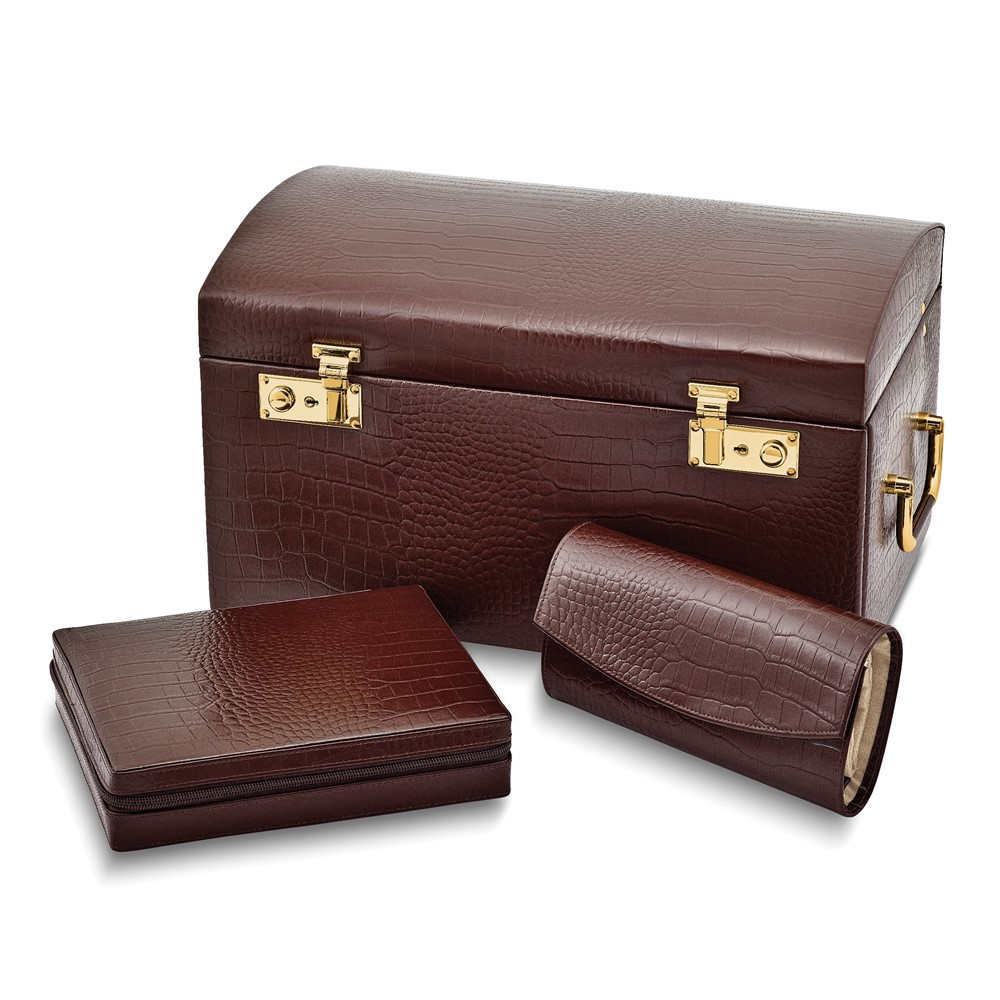 Brown Leather Jewelry Case