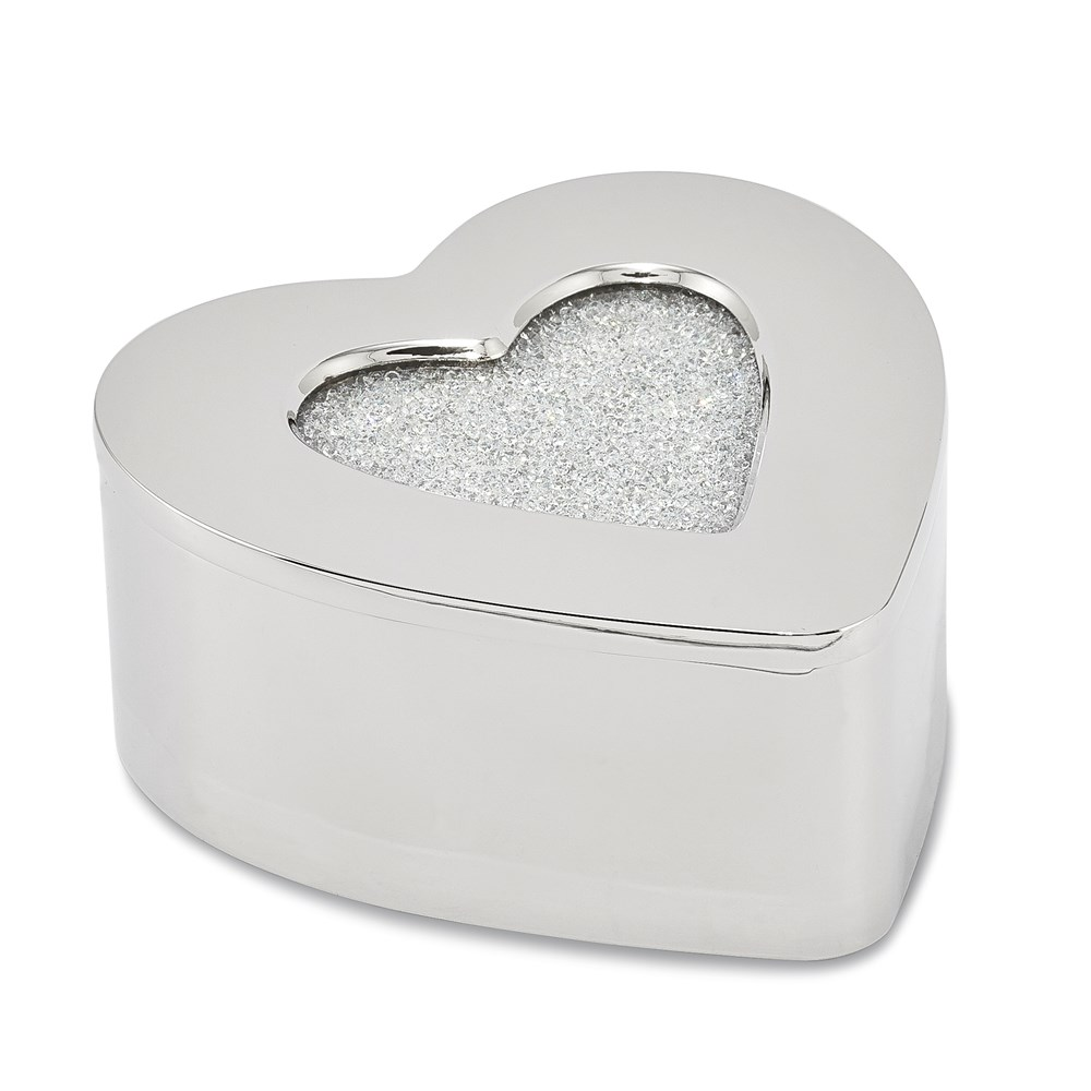 Bejeweled CRYSTAL HEART Jewelry Box Trinket Box
