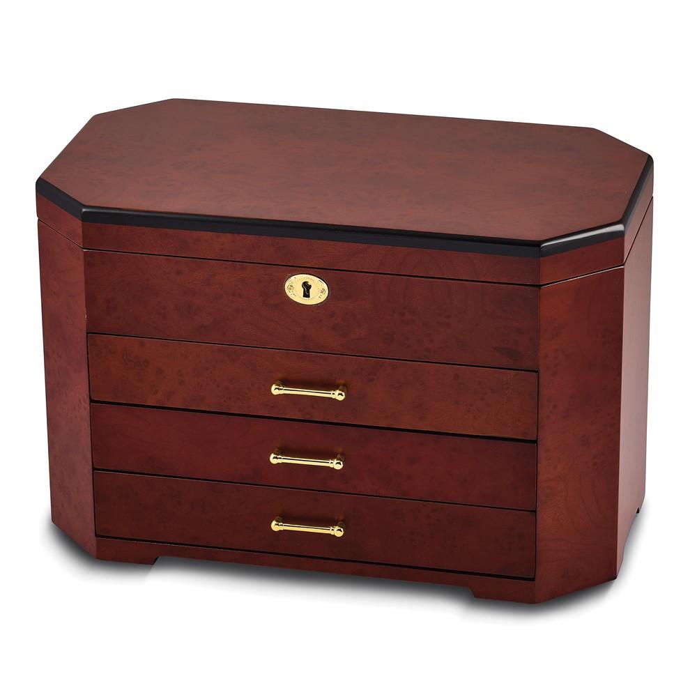 Burlwood & Ebony w/3 Drawers Jewelry Box