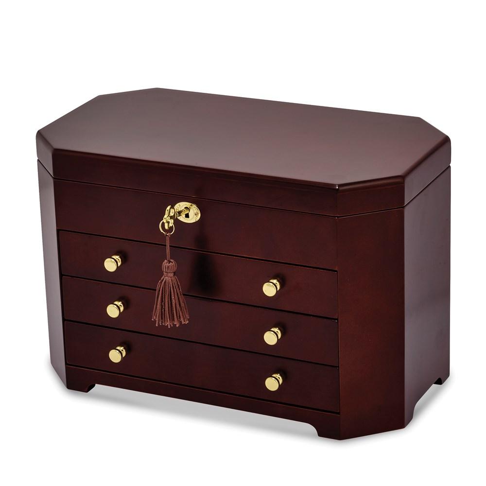Matte Mahogany Veneer w/3 Drawers Jewelry Box