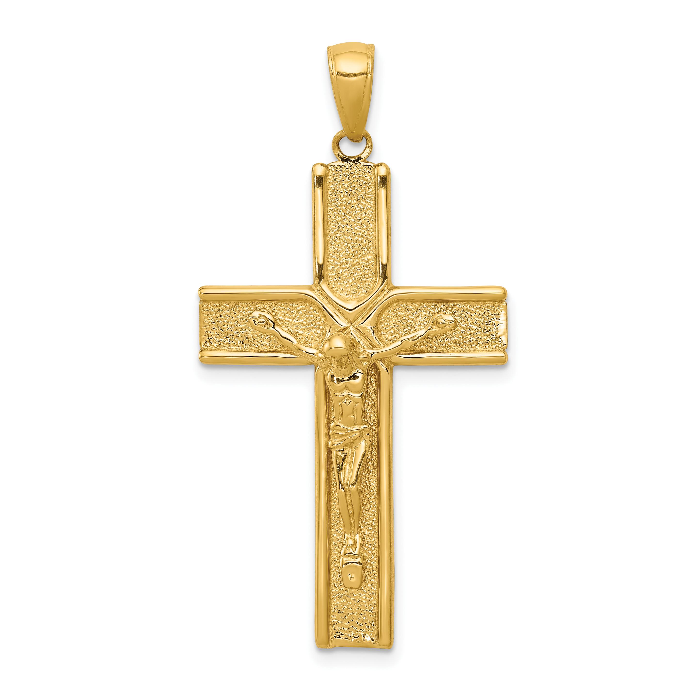 14k Gold Crucifix Necklace: 14k Yellow Gold Finish Crucifix Cross Religious Pendant