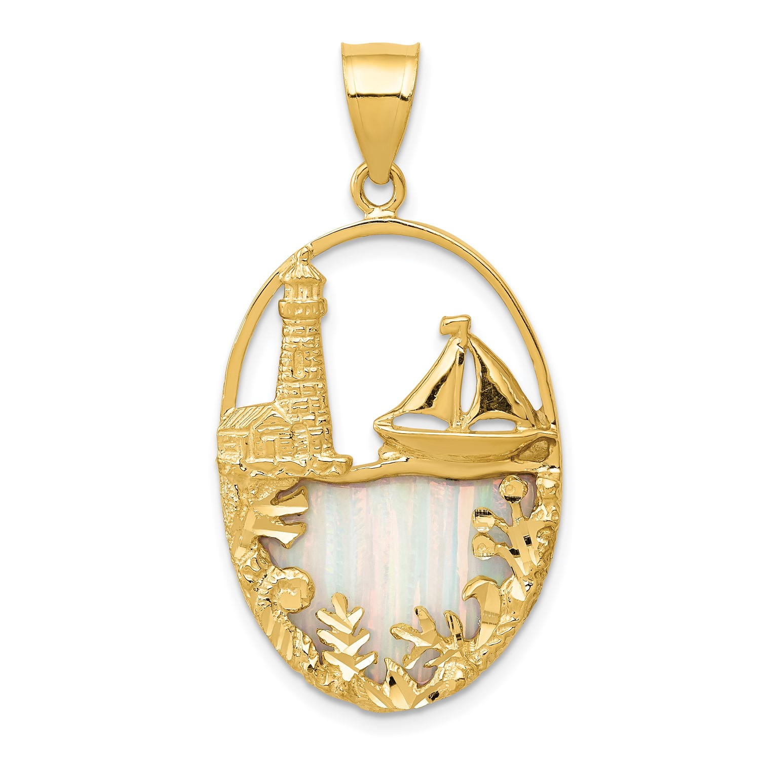 14k-Yellow-Gold-Imitation-Opal-Lighthouse-amp-Sailboat-Pendant-1-4INx0-7IN