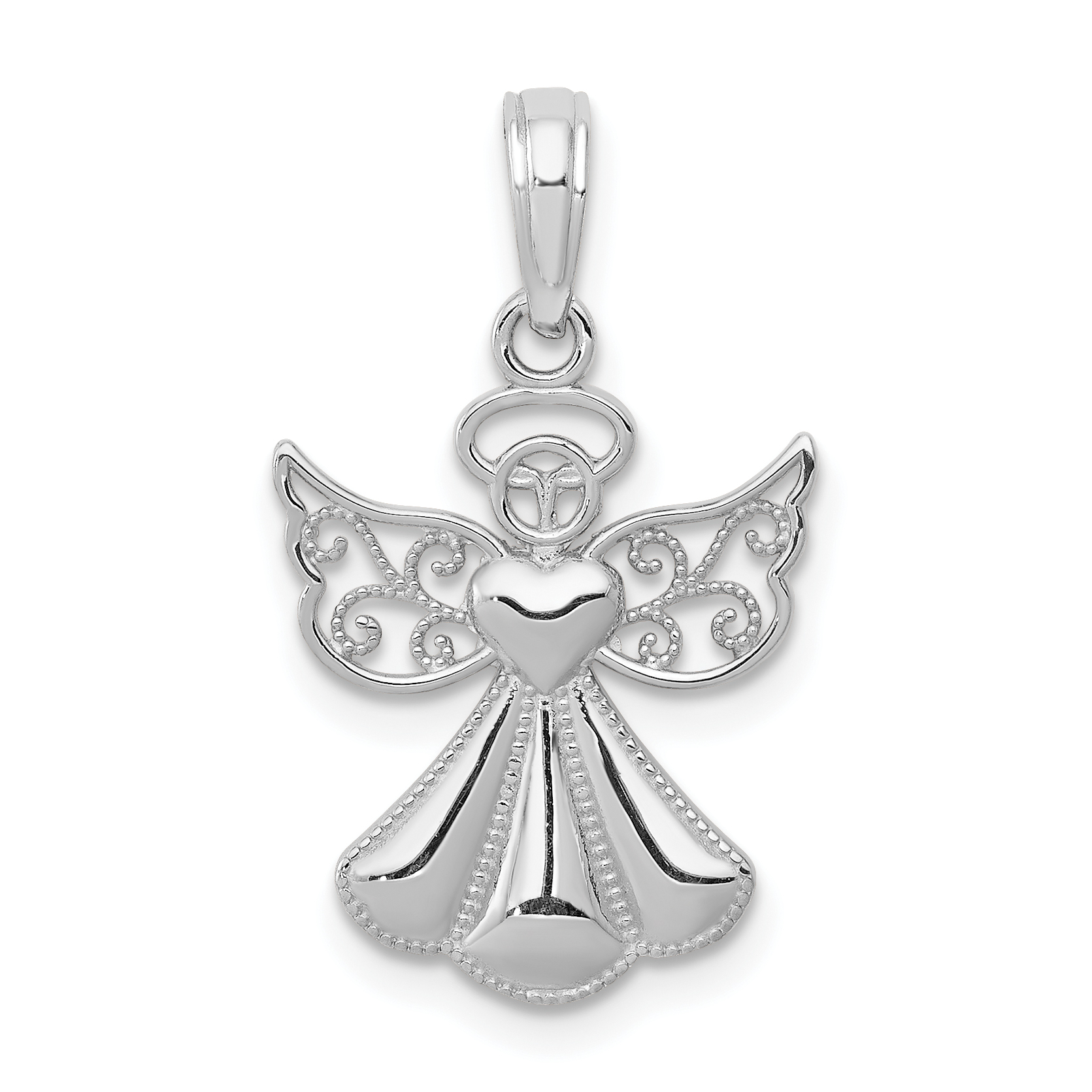 14k white gold polished textured guardian angel pendant aloadofball Image collections