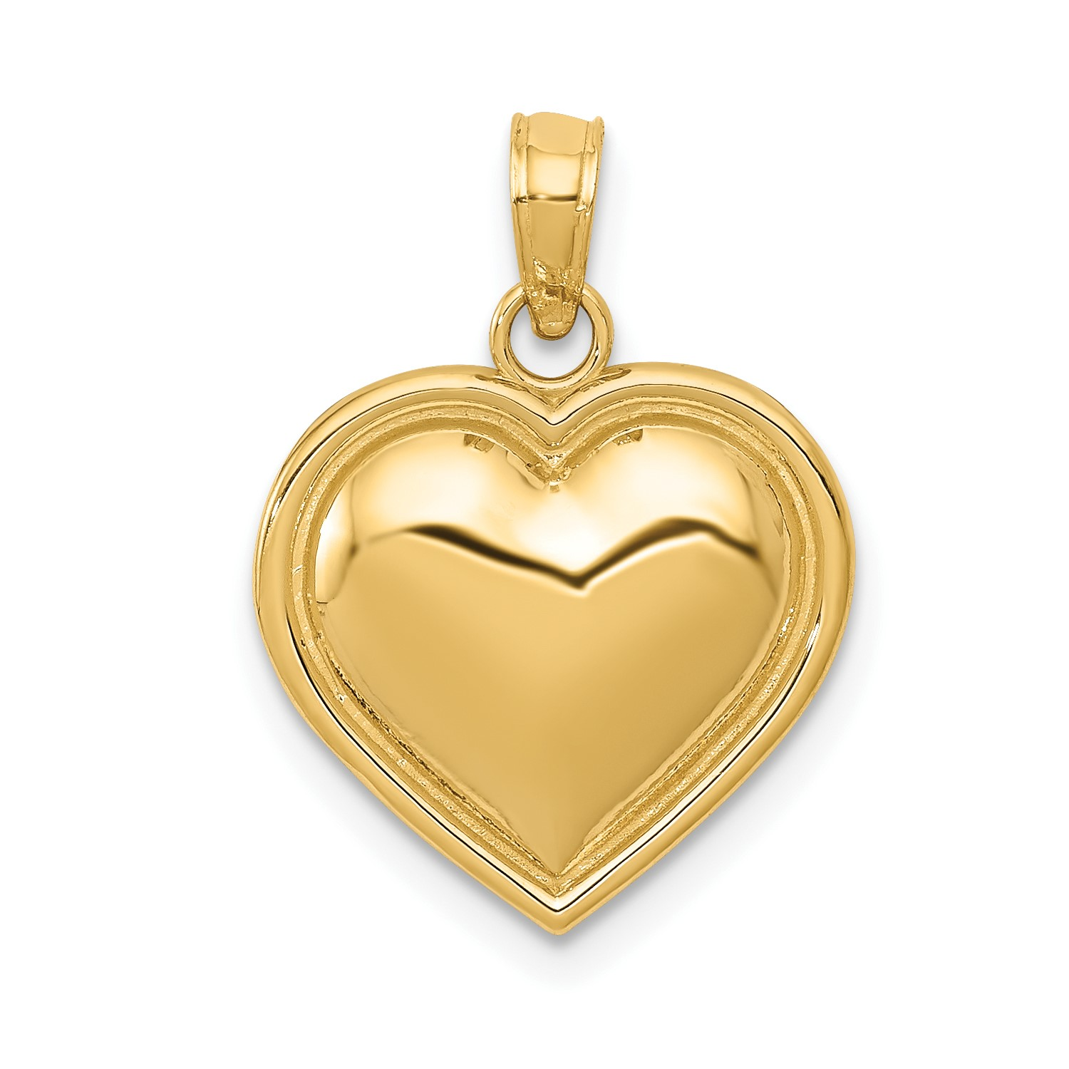 e7575c68be2 14k Yellow Gold Polished Heart Open   Textured Back Pendant