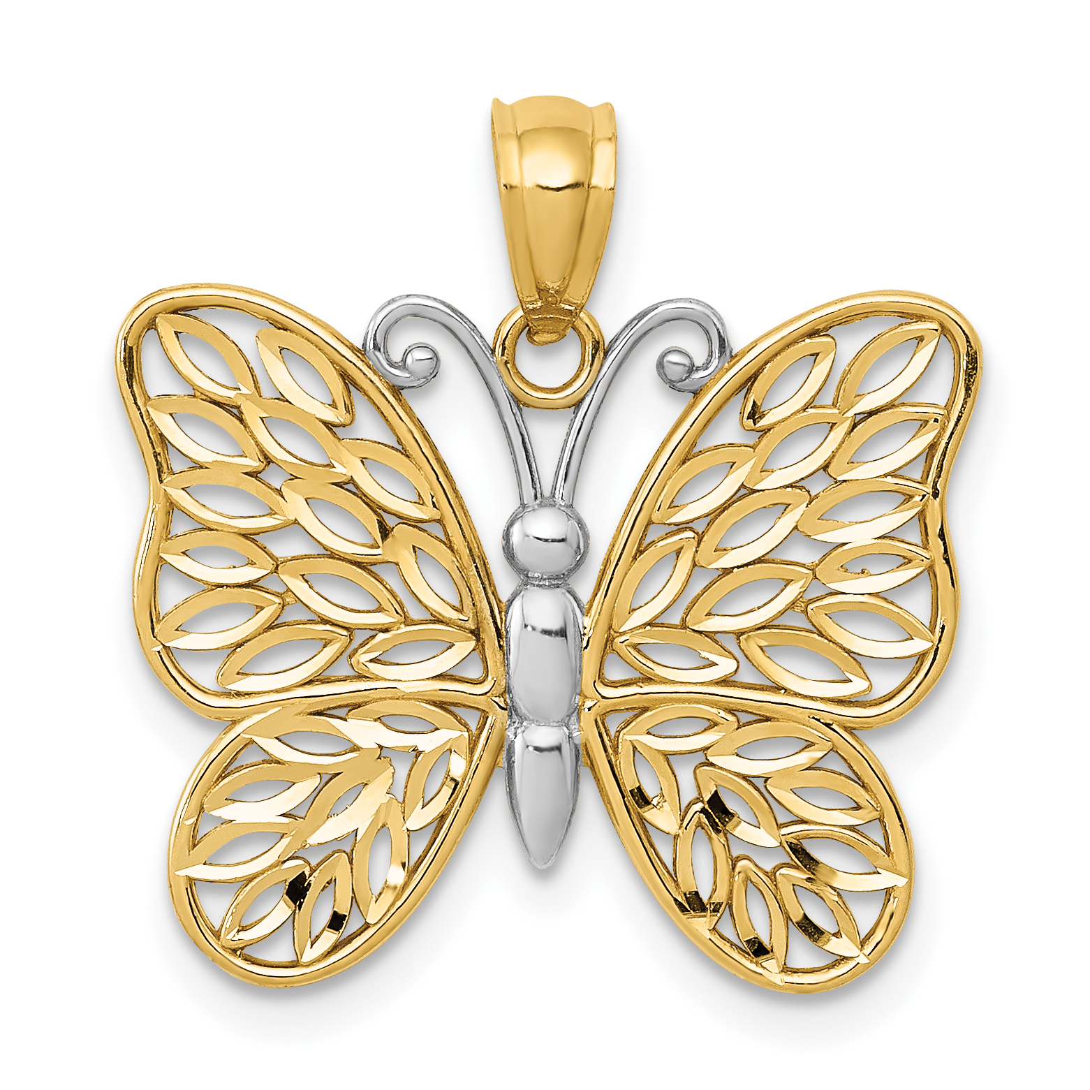 14k w y gold polished cut out butterfly pendant for What is gold polished jewelry