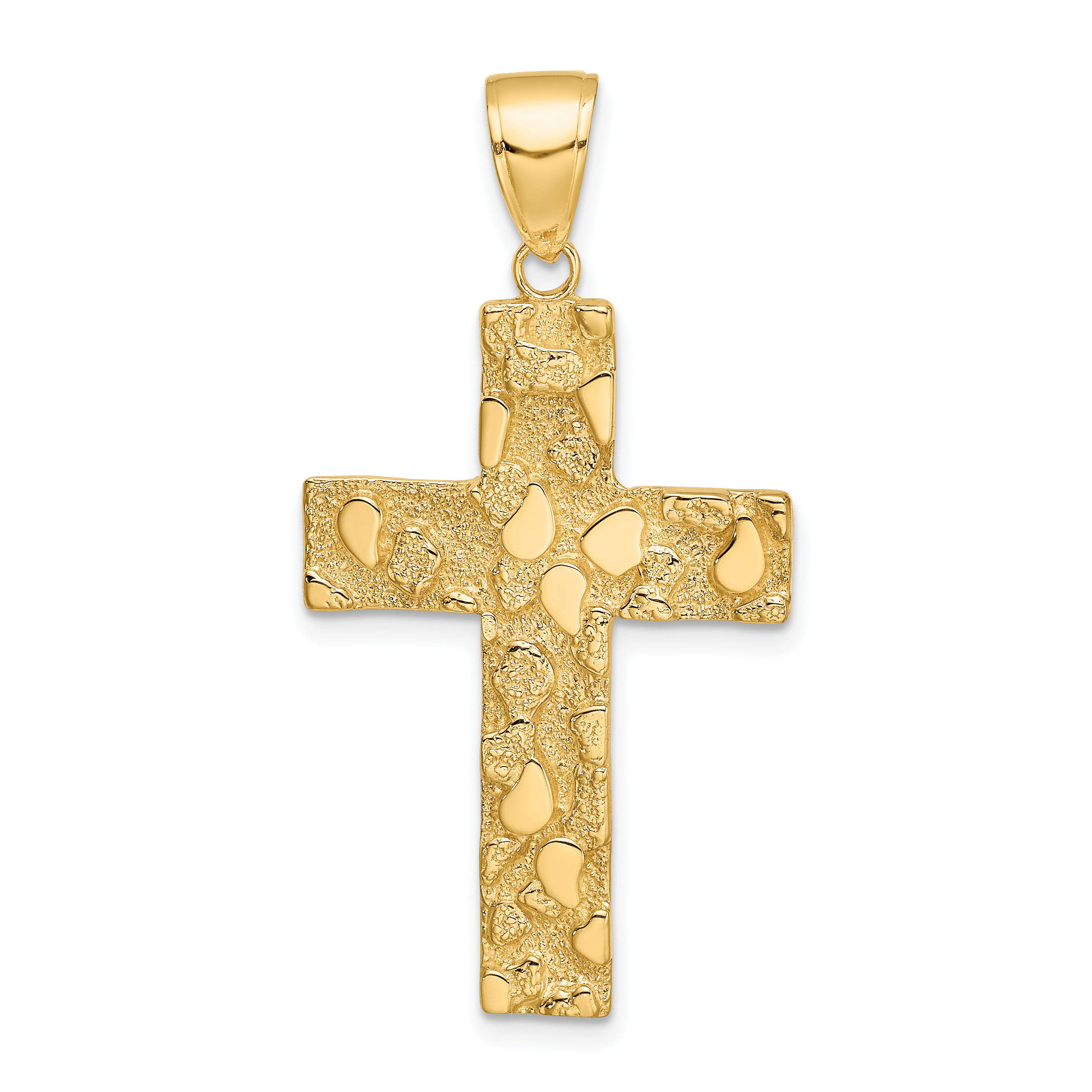 14K Gold Polished and Textured Nugget Block Style Cross Pendant