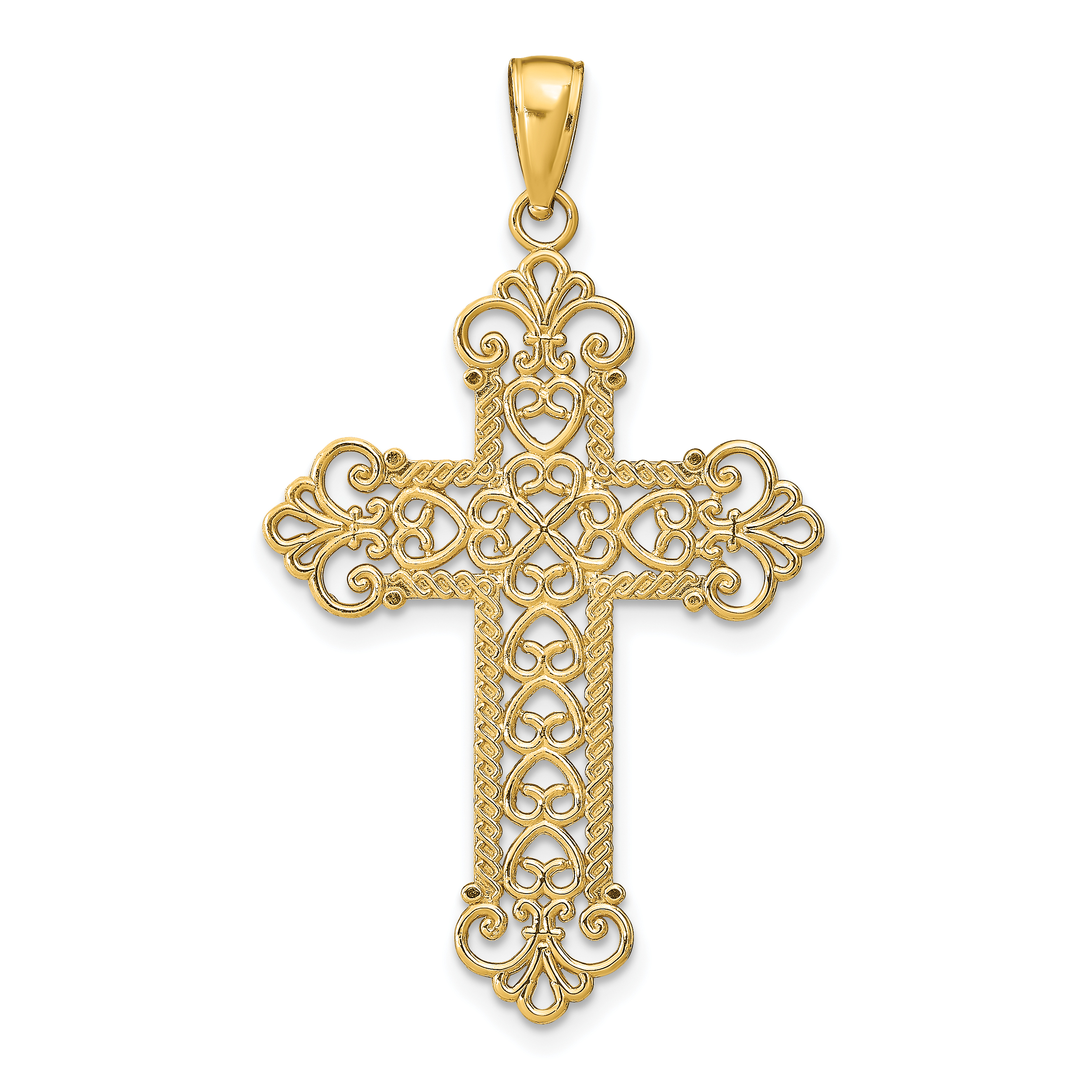 14k gold polished large rope frame filigree cross pendant for What is gold polished jewelry