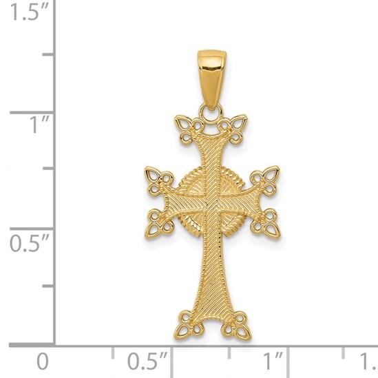 14K-Yellow-Gold-Polished-amp-Textured-Armenian-Cross-Pendant