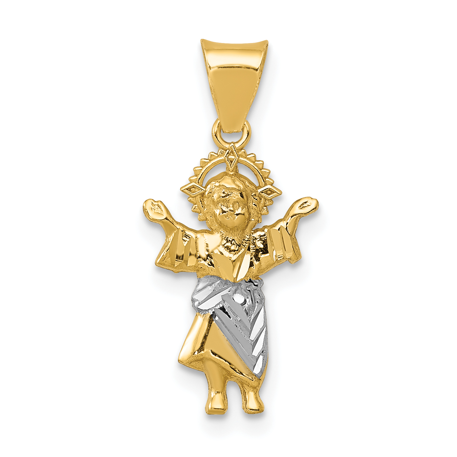14k with rhodium dc polished baby jesus pendant aloadofball Gallery