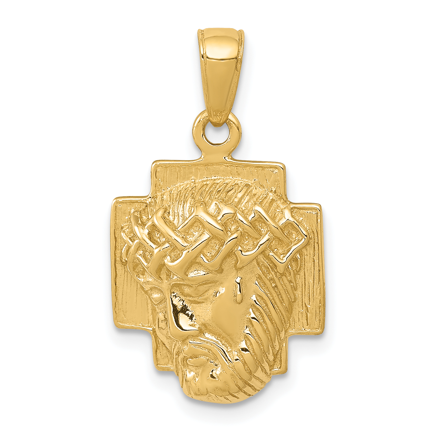 Gold polished 2 d small jesus head with crown pendant 14k gold polished 2 d small jesus head with crown pendant aloadofball Images