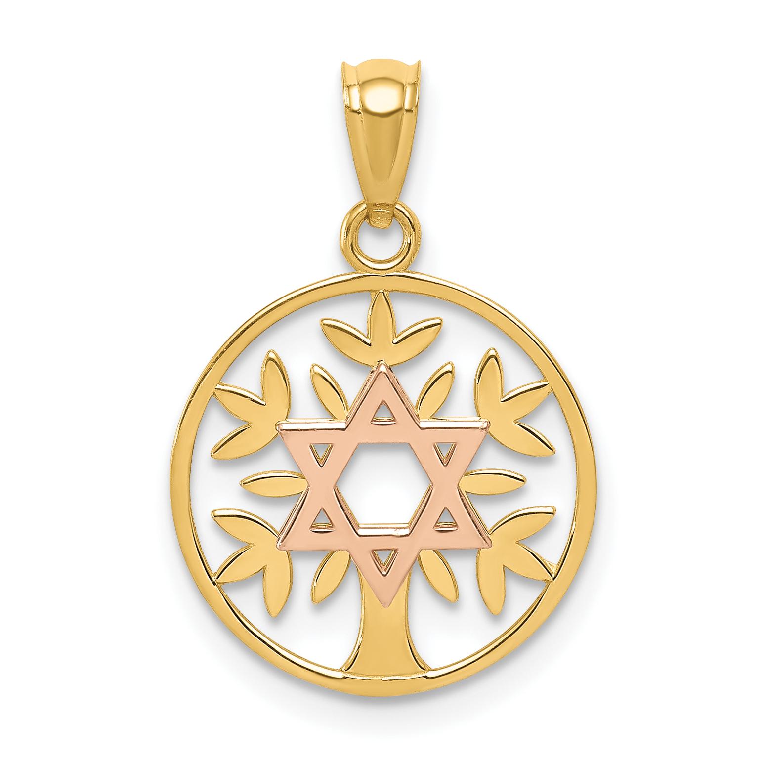 14k two tone yellow rose polished star of david tree of life pendant aloadofball Images