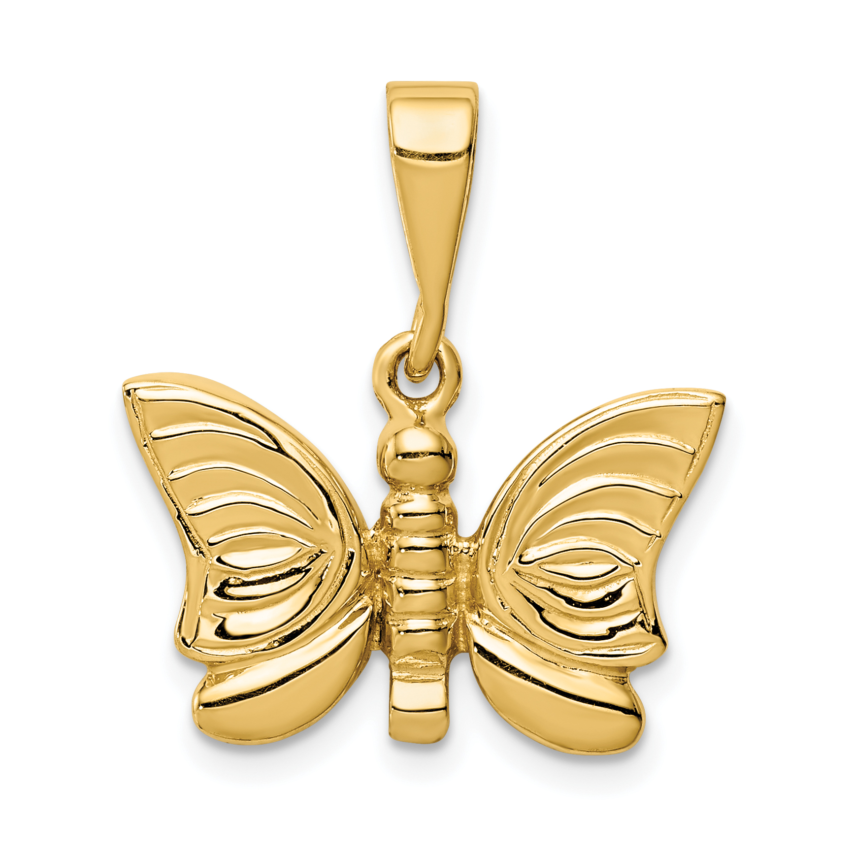 14k gold polished butterfly pendant for What is gold polished jewelry