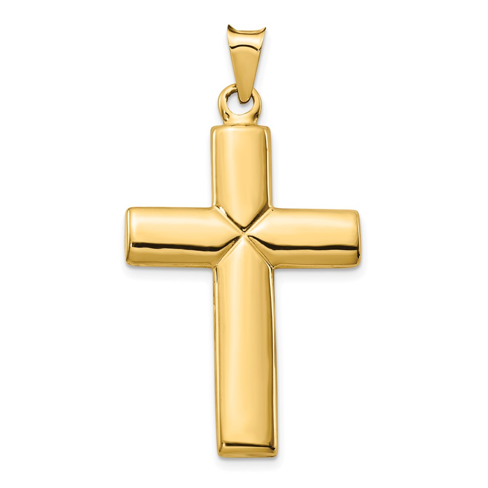 14k 14kt Yellow gold Polished Stamping Cross Pendant 41.36 mm X 23.44 mm