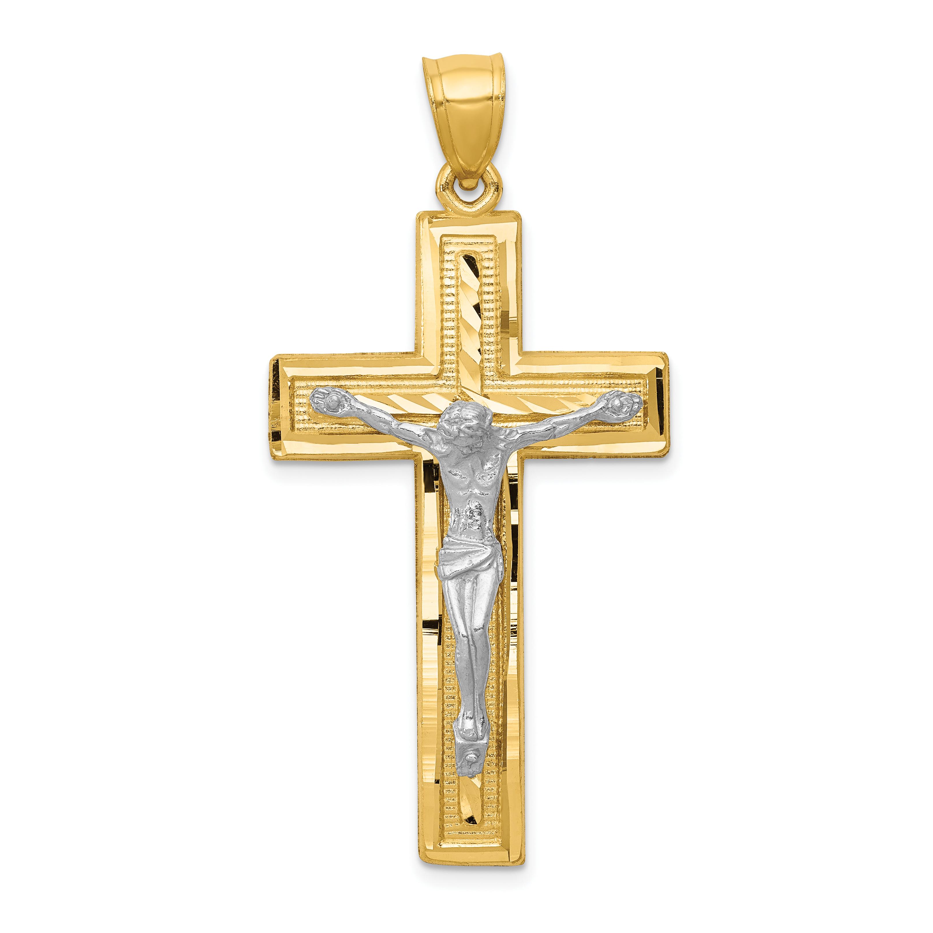 14k Two-tone Diamond-cut Latin Crucifix Pendant