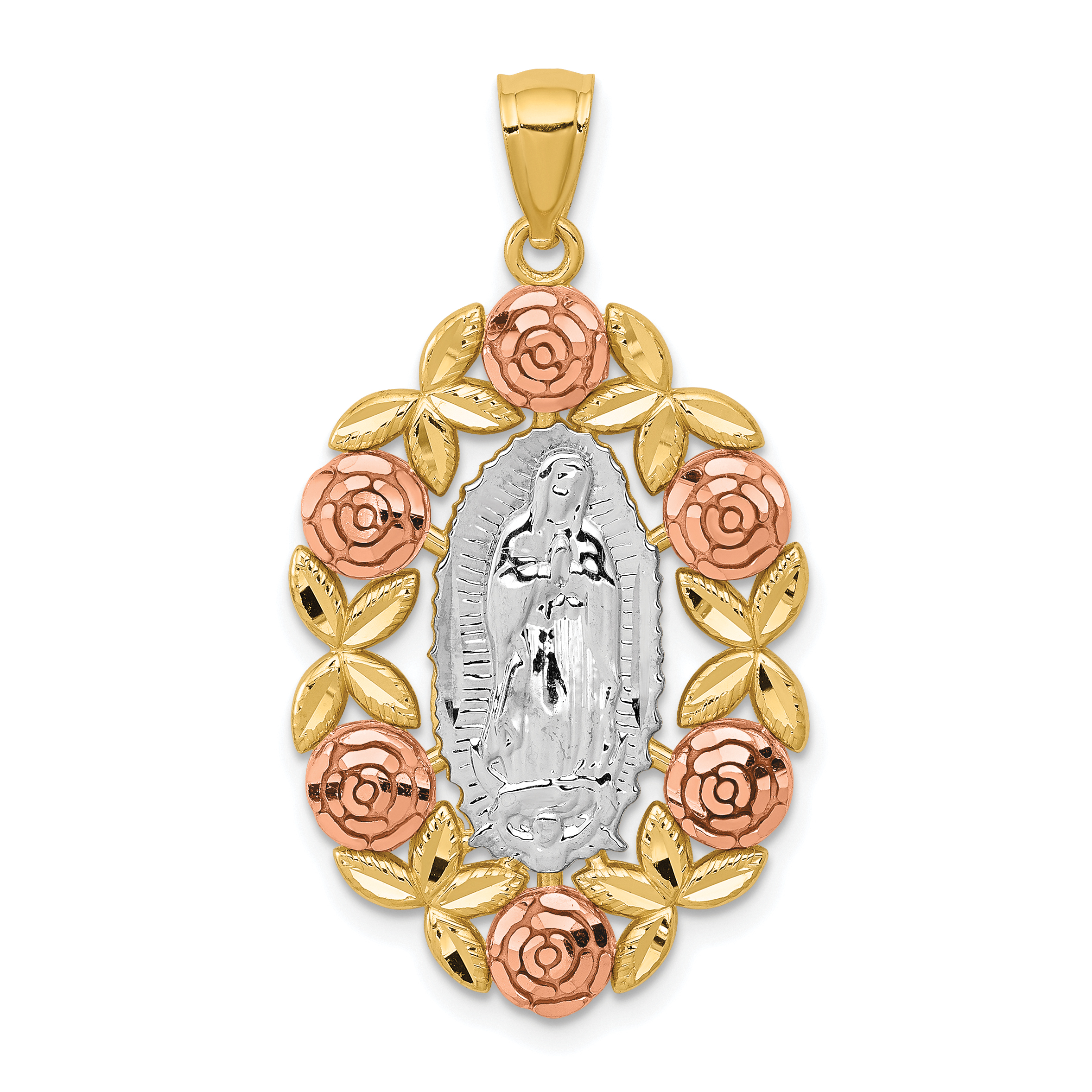 14k two tone white rhodium our lady of guadalupe pendant mozeypictures Choice Image