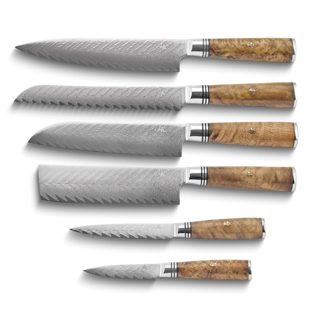 Damacus Steel Arrow Pattern Sapele Wood Handle 6-Knife Set