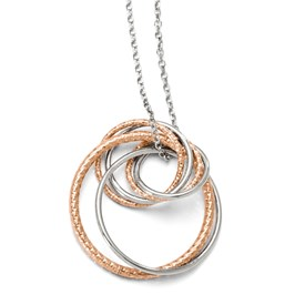 Sterling Silver Rose-tone Flash Plated Necklace w/2in ext