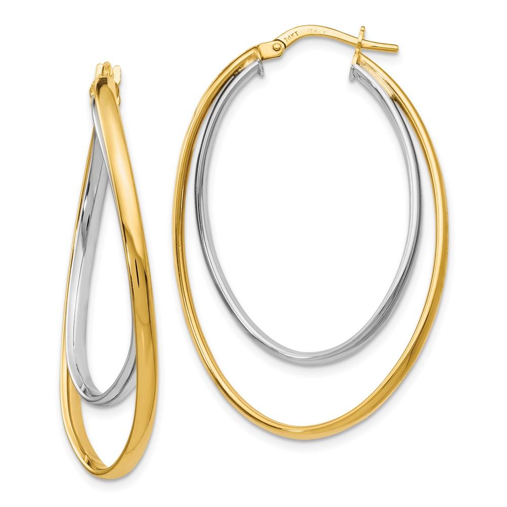 40d117db3 14k 14kt Two-tone Polished Fancy Hoop Earrings 41 X 19 mm mm ...
