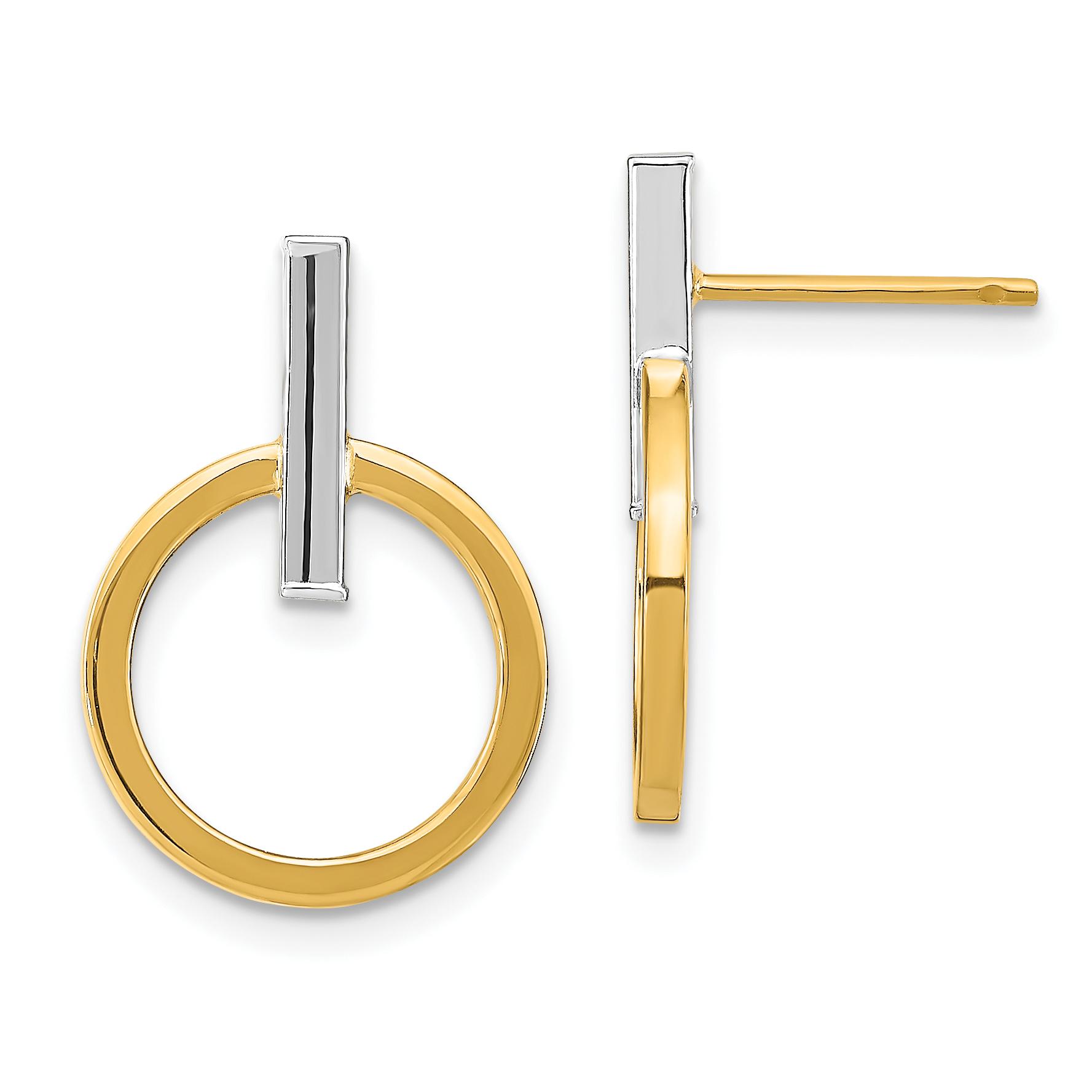 14k Two Tone Polished Fancy Hoops Length 18.58 Width 15.75