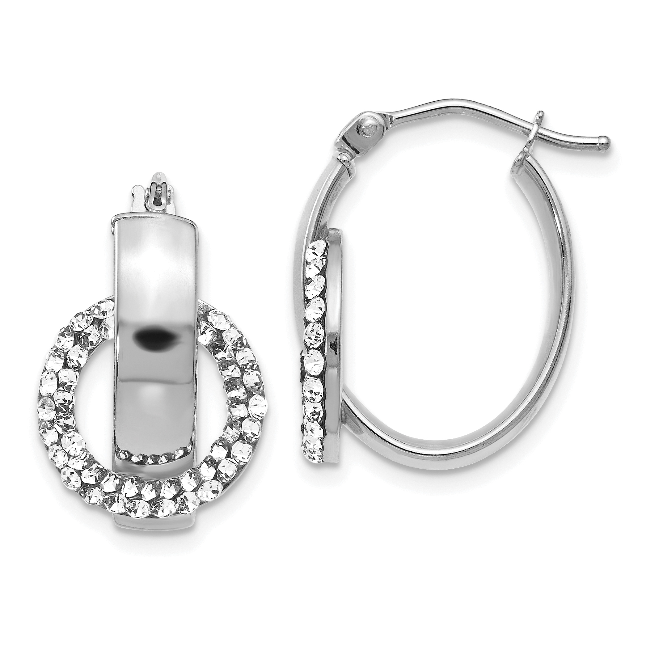 50b7b6473c5028 Leslie s 14k White Gold Crystals from Swarovski Oval Hinged Hoop Earrings