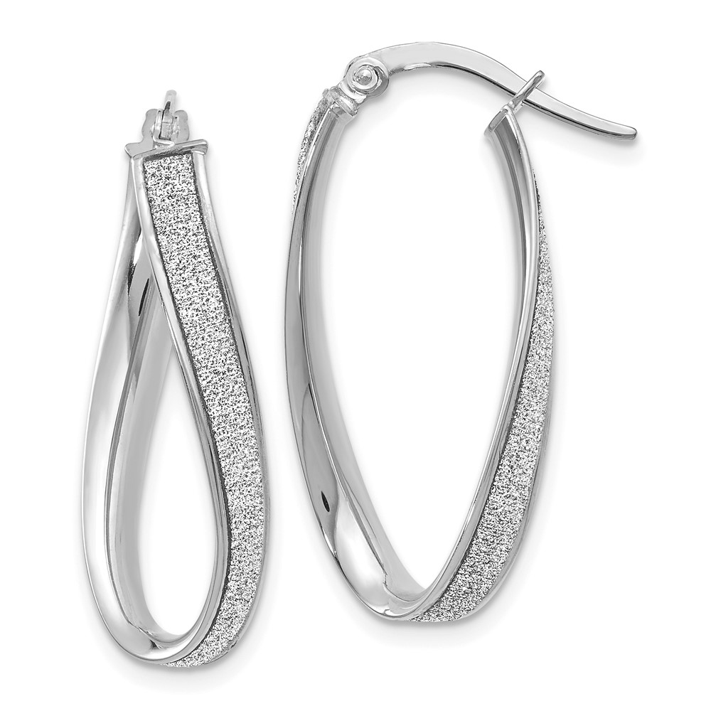 14k 14kt White Solid gold  Polished Glimmer Infused Oval Hoop Earrings 28 mm