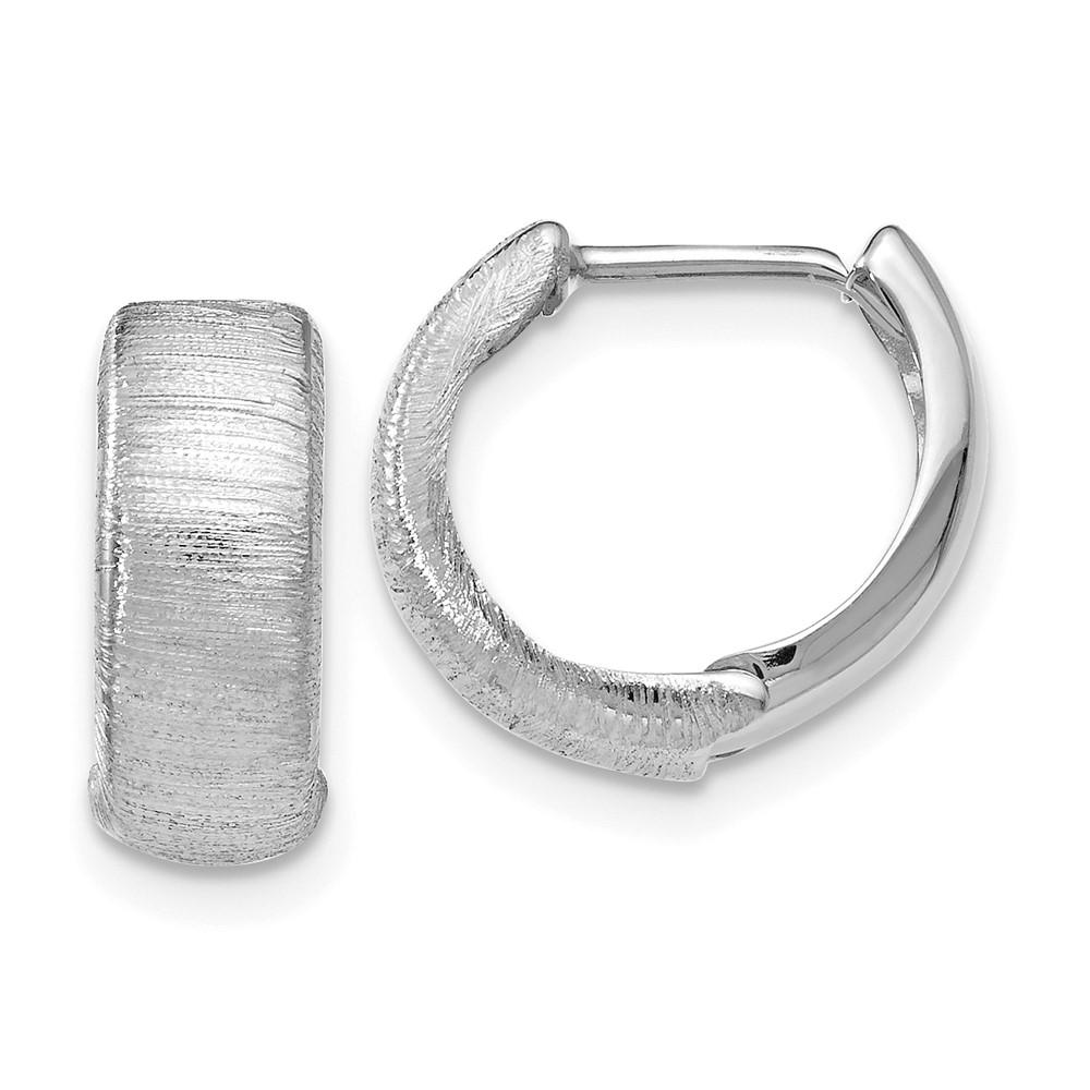 Leslie's 14K White Gold Polished & Textured Hinged Hoop EarringsLE936