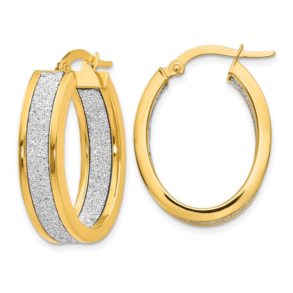 Leslie's 14K Polished Glimmer Infused Oval Hoop EarringsLE950