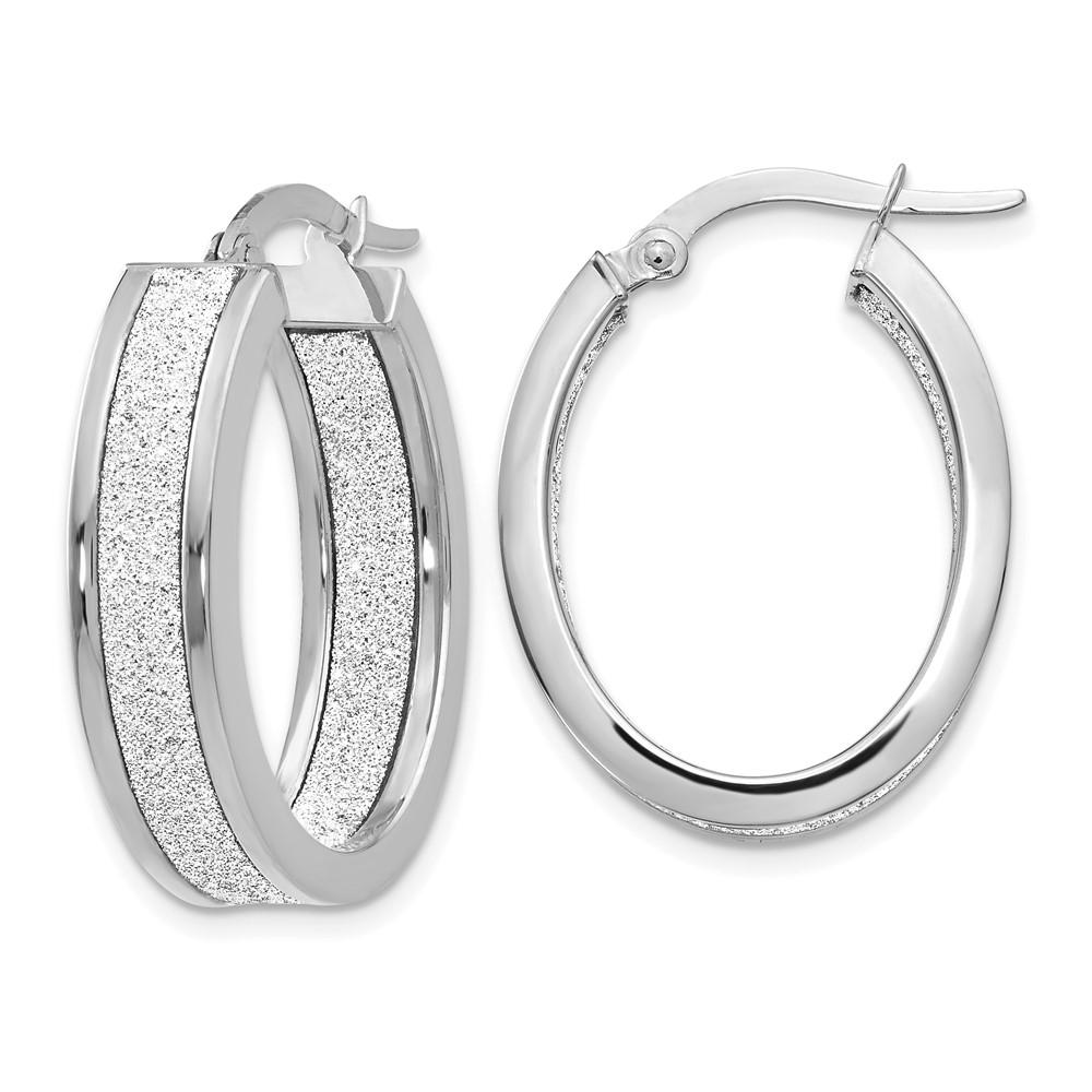 Leslie's 14K White Gold Polished Glimmer Infused Oval Hoop EarringsLE951