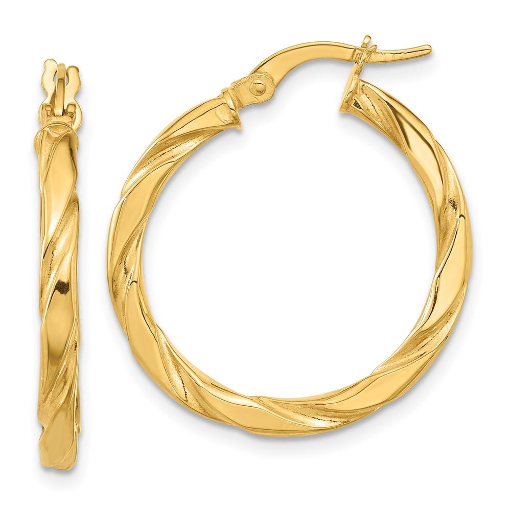 Leslie's 14K Polished Textured Twisted Hoop EarringsLE988