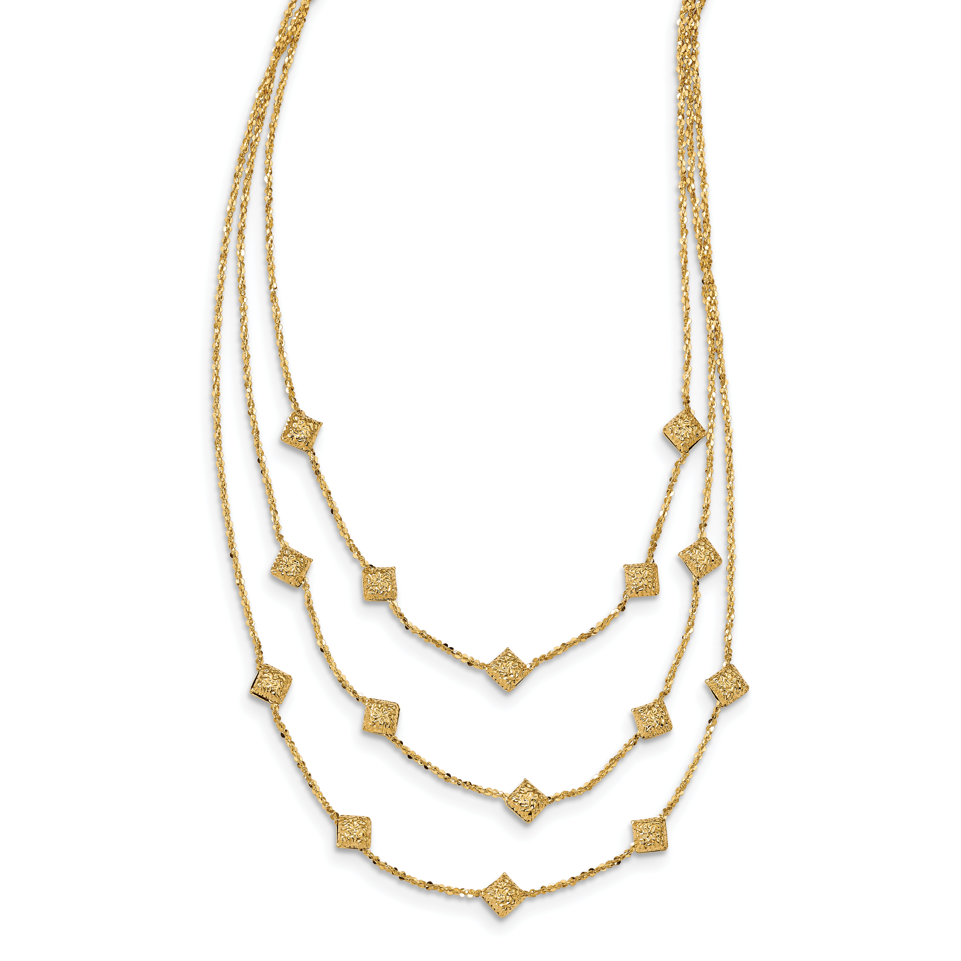 Leslie's 14K Polished & Textured 3 Strand Necklace
