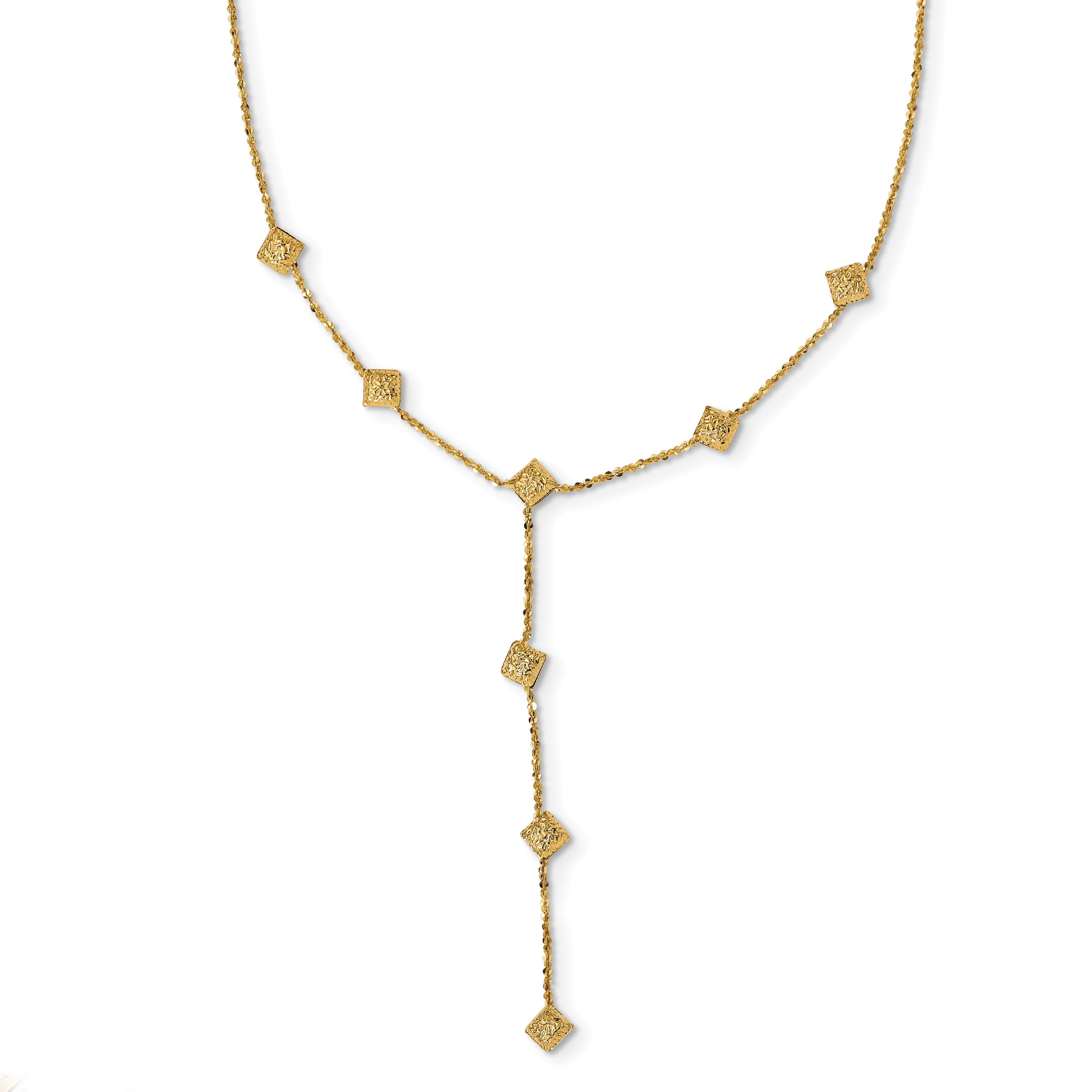 Leslie's 14K Polished & Textured Y Drop Necklace