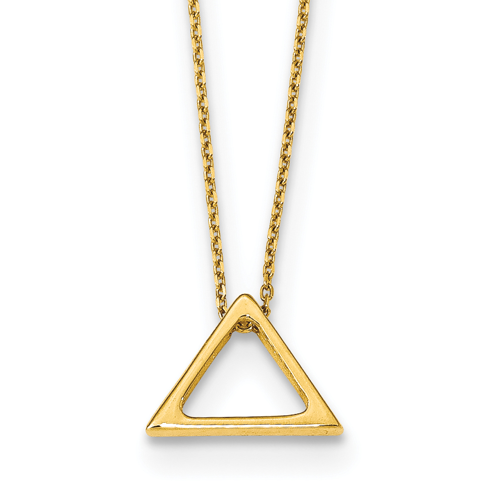 Leslie's 14K Polished Triangle w/2 in ext Necklace