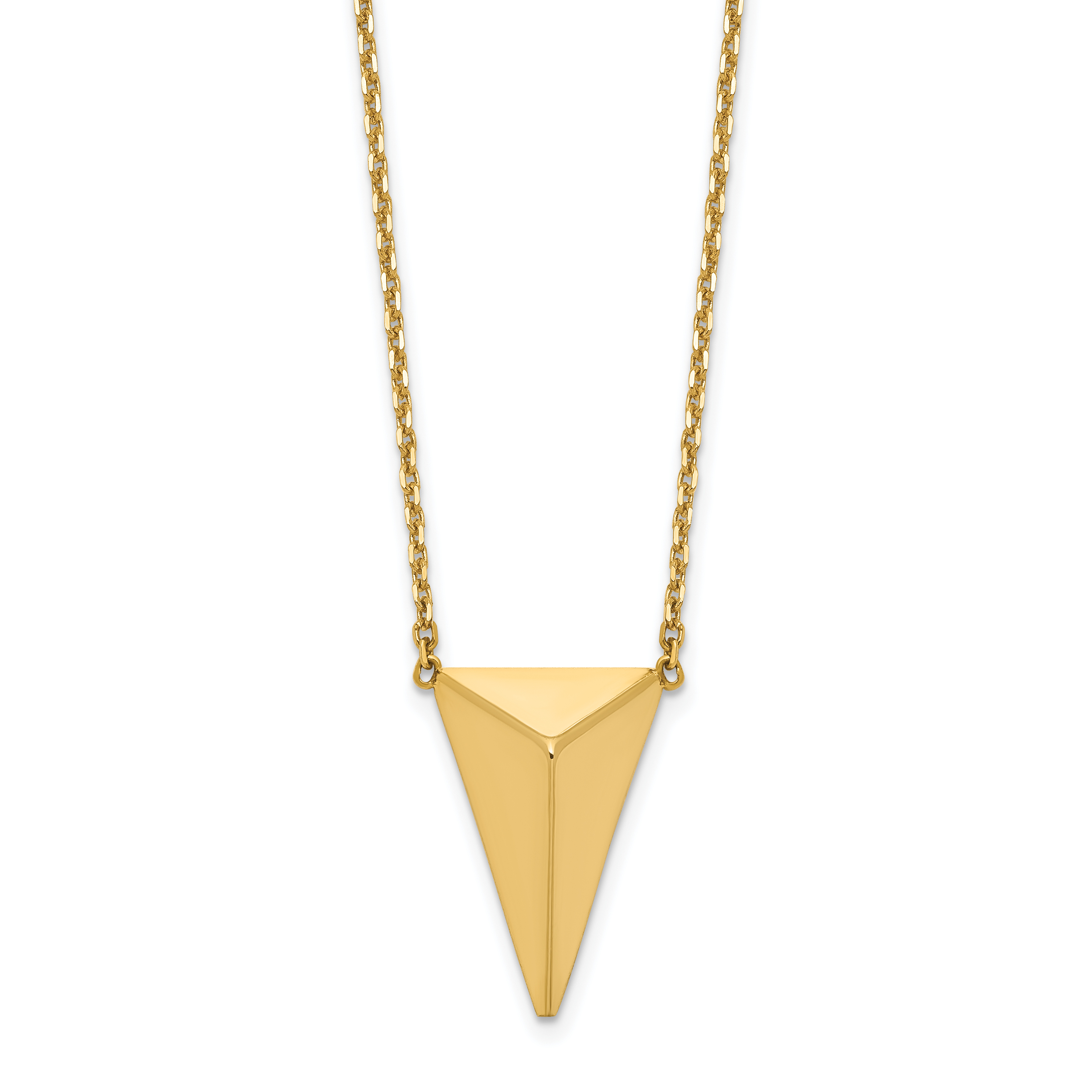 Leslie's 14K Polished 3D Triangle w/ 2 in ext Necklace