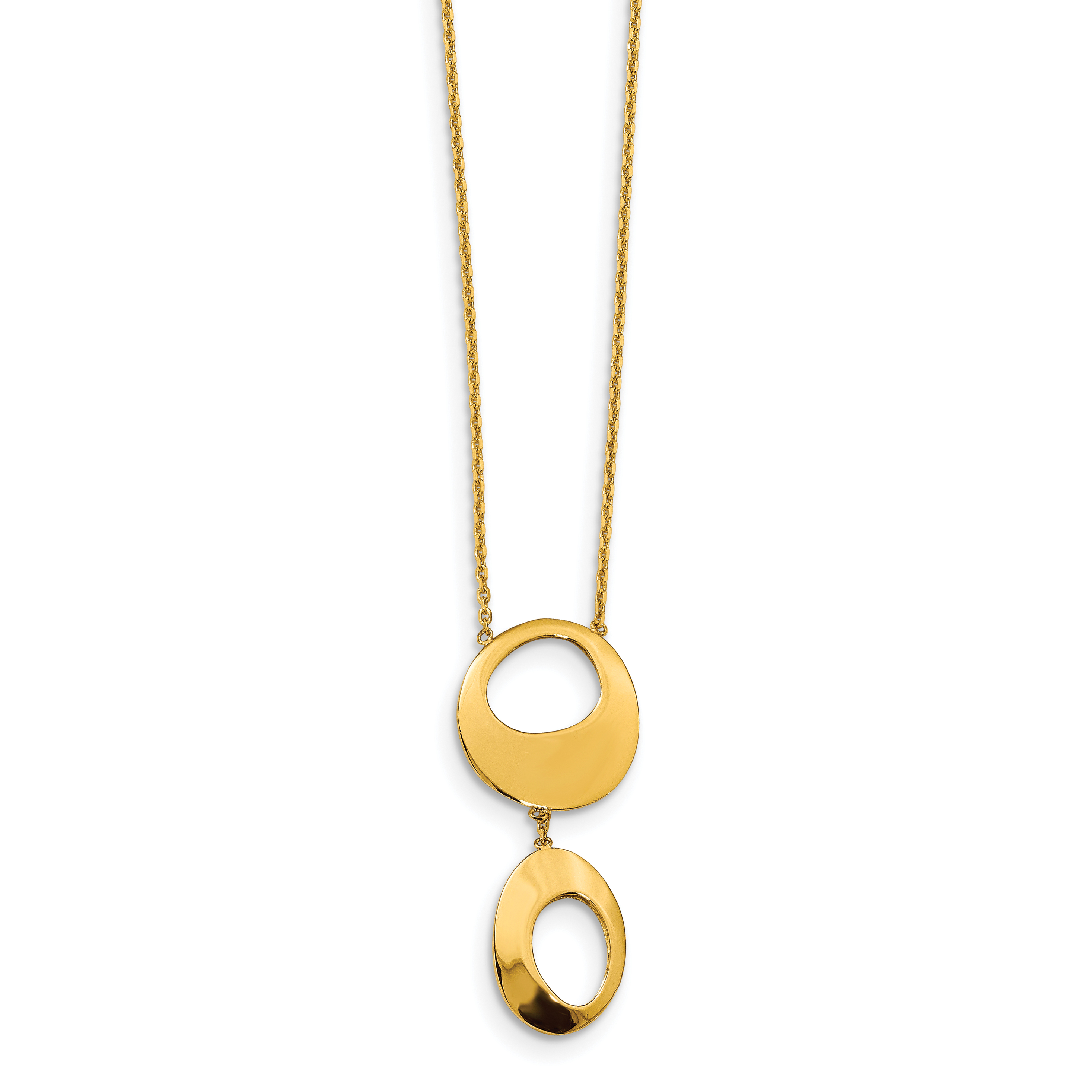 Leslie's 14K Polished Hollow Circles w/2 in ext Necklace
